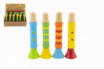 Píšťalka dřevěná barevná 12 cm 4 barvy 24ks v boxu 18m+
