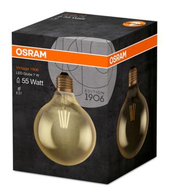 OSRAM Vintage 1906 LED CL GLOBE125 Filament GOLD 7W 825 E27 725lm 2500K (CRI 80) 15000h A+ (Krabička 1ks)