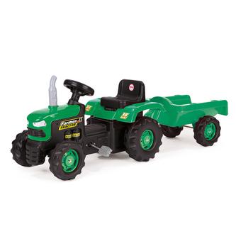 Dětský zelený šlapací traktor s vlečkou